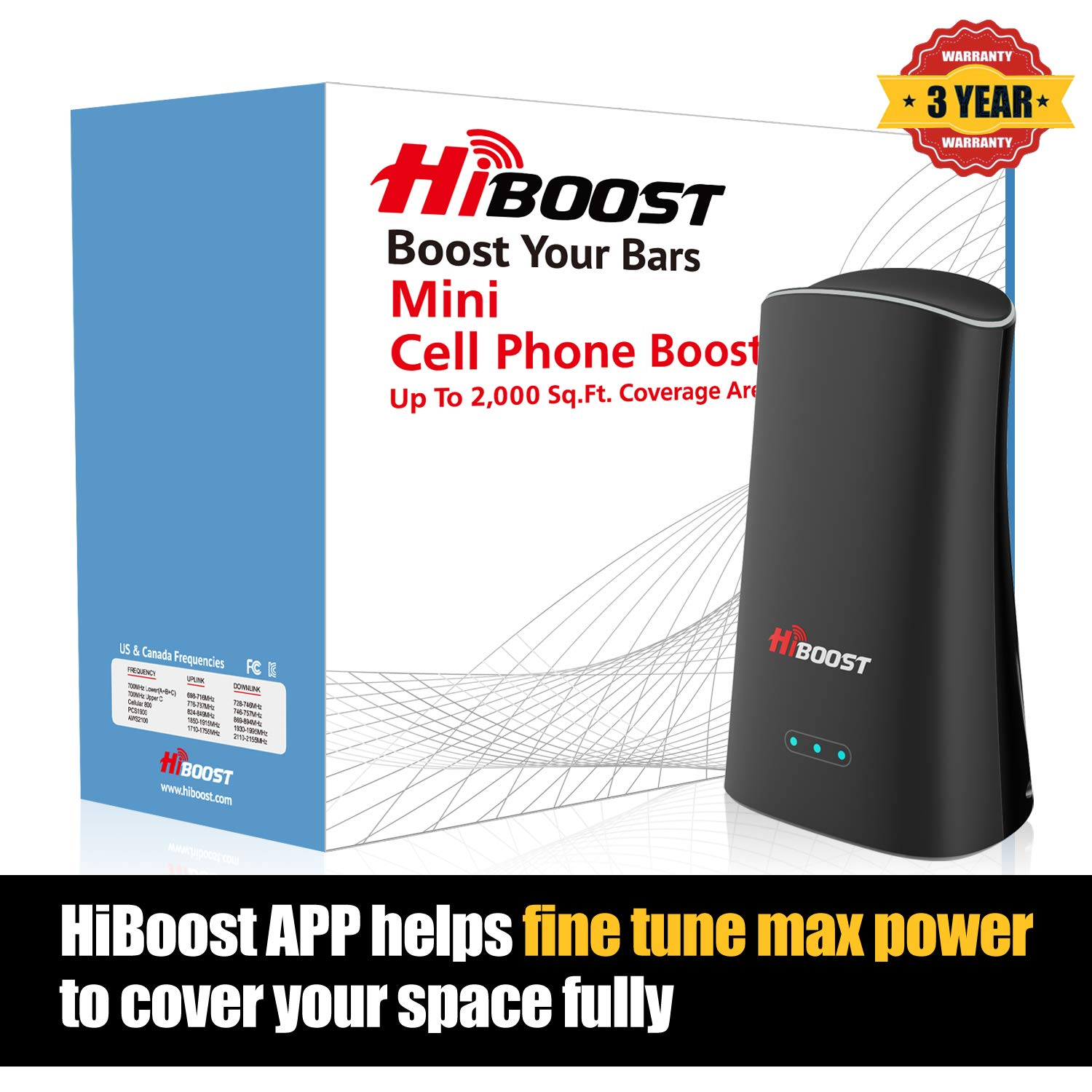 HiBoost Mini Cell Phone Signal Booster Cellular Booster Signal Amplifier for Home Office up to 2,000 Sq.Ft by HiBoost