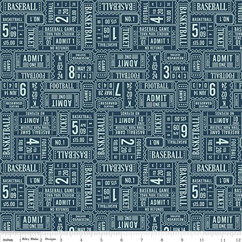 Play Ball Ticket Navy by Riley Blake Designs 1 Yard 100% Designer Cotton Fabric by Lori Whitlock (Ball Ticket)