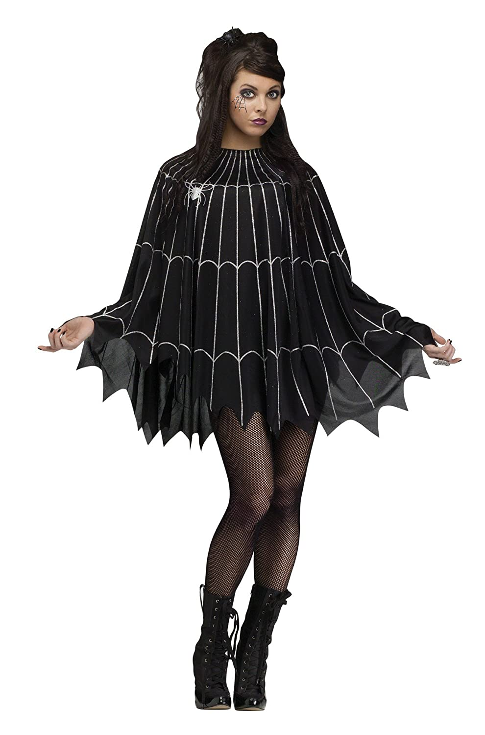 1930s Costumes- Bride of Frankenstein, Betty Boop, Olive Oyl, Bonnie & Clyde Spider Web Poncho Adult Costume $15.08 AT vintagedancer.com