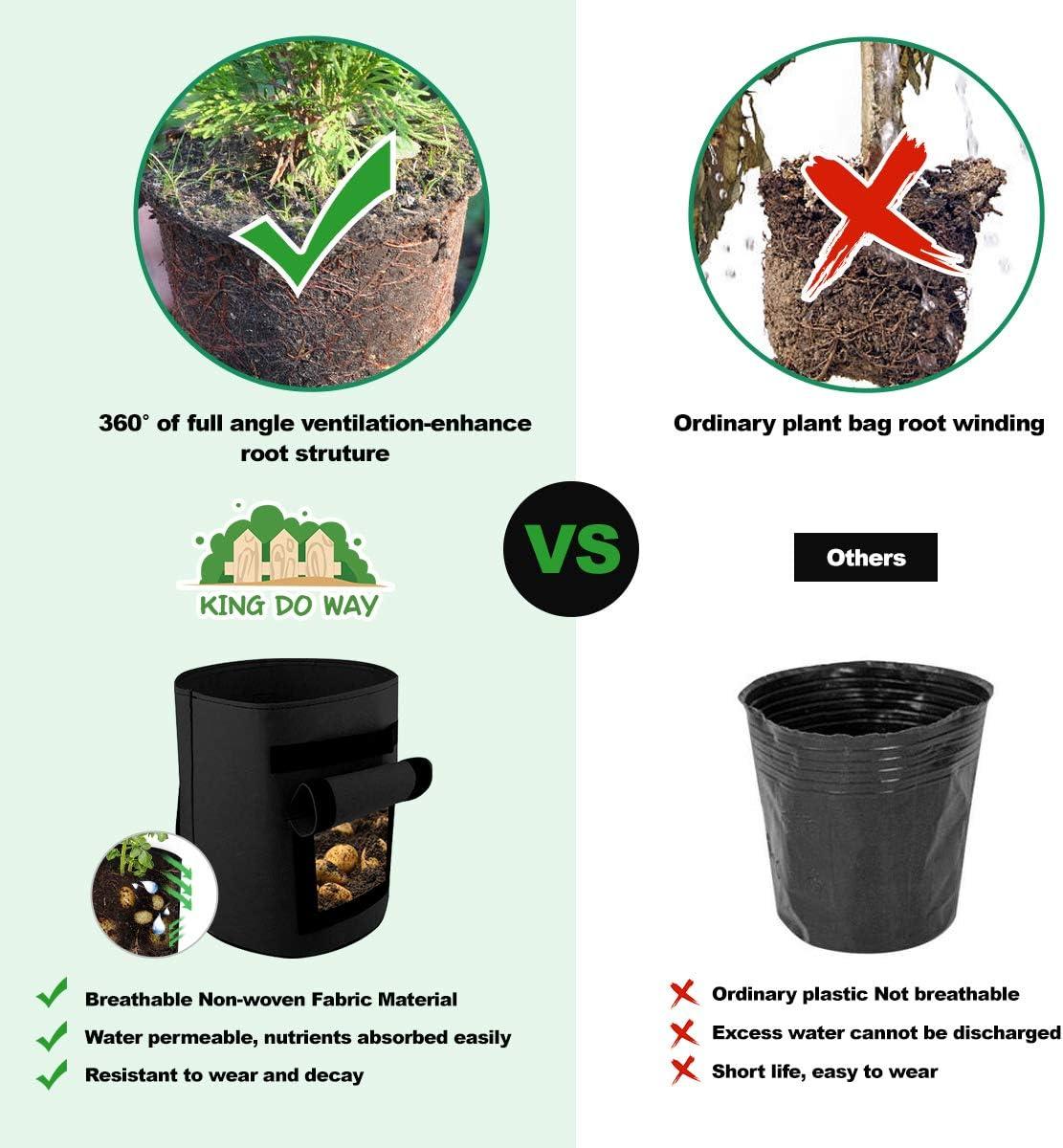 king do way Potato Grow Bags 2 Pack Plant Growing Bags Garden Vegetable Growing Bags Pots Plant Bags Potato Planting Bag with 2 Window Flaps and Handles for Potato,Tomato,Carrot