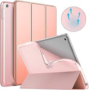 MoKo Funda para iPad 9.7 2018/2017, Protectora Soporte Slim Smart Case con Posterior Transparente TPU Suave con Auto Sueño/Estela para iPad 9.7 Inch (iPad 5, iPad 6) - Oro Rosa