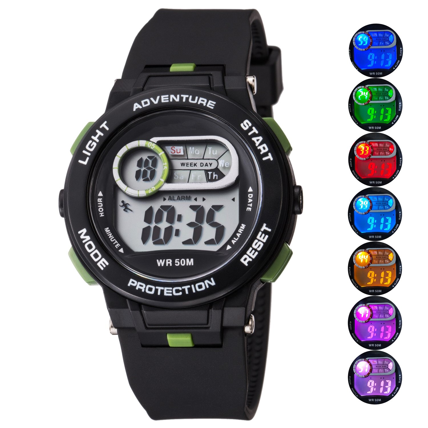 Kid Watch For Boy Girl LED Multi Function Fashion Sport Outdoor Digital Wristwatch Dress Waterproof Alarm Black Green