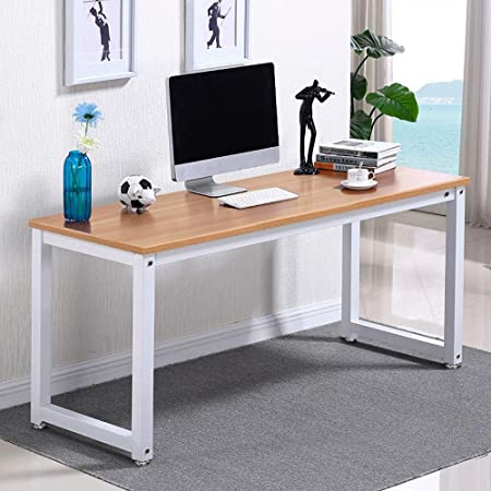 Yaheetech Modern Computer Desk Writing Study Table Dining Table for Home Office, PC Laptop Cart Workstation Brown