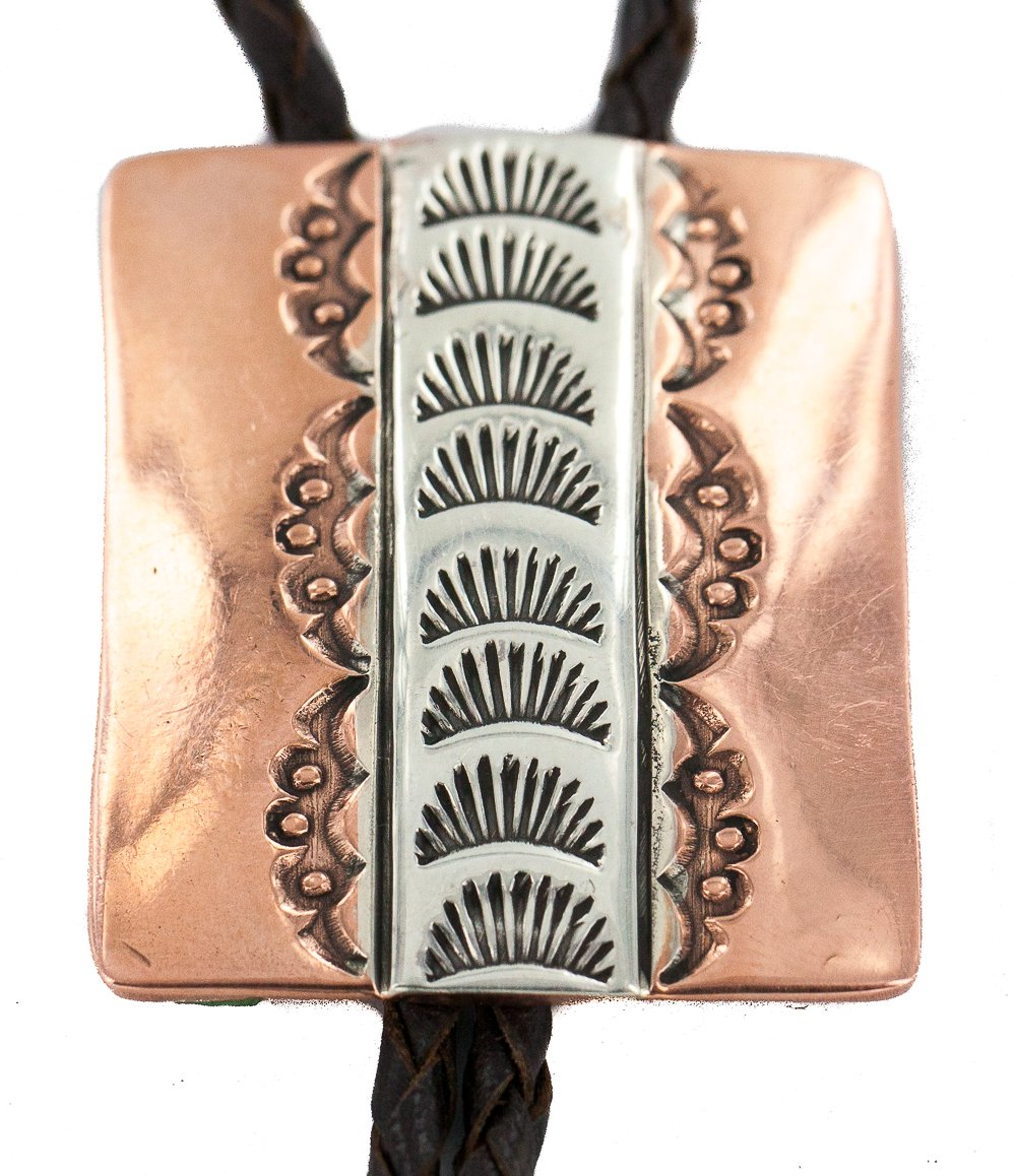 Certified Authentic Handmade Navajo Leather Pure Copper and Nickel Native American Bolo Tie 244893