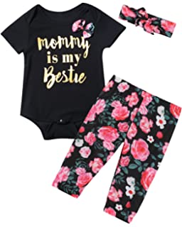 7aeb136d Baby Girls' 3PCS Mommy is My Bestie Outfit Set Short Sleeve Floral Romper