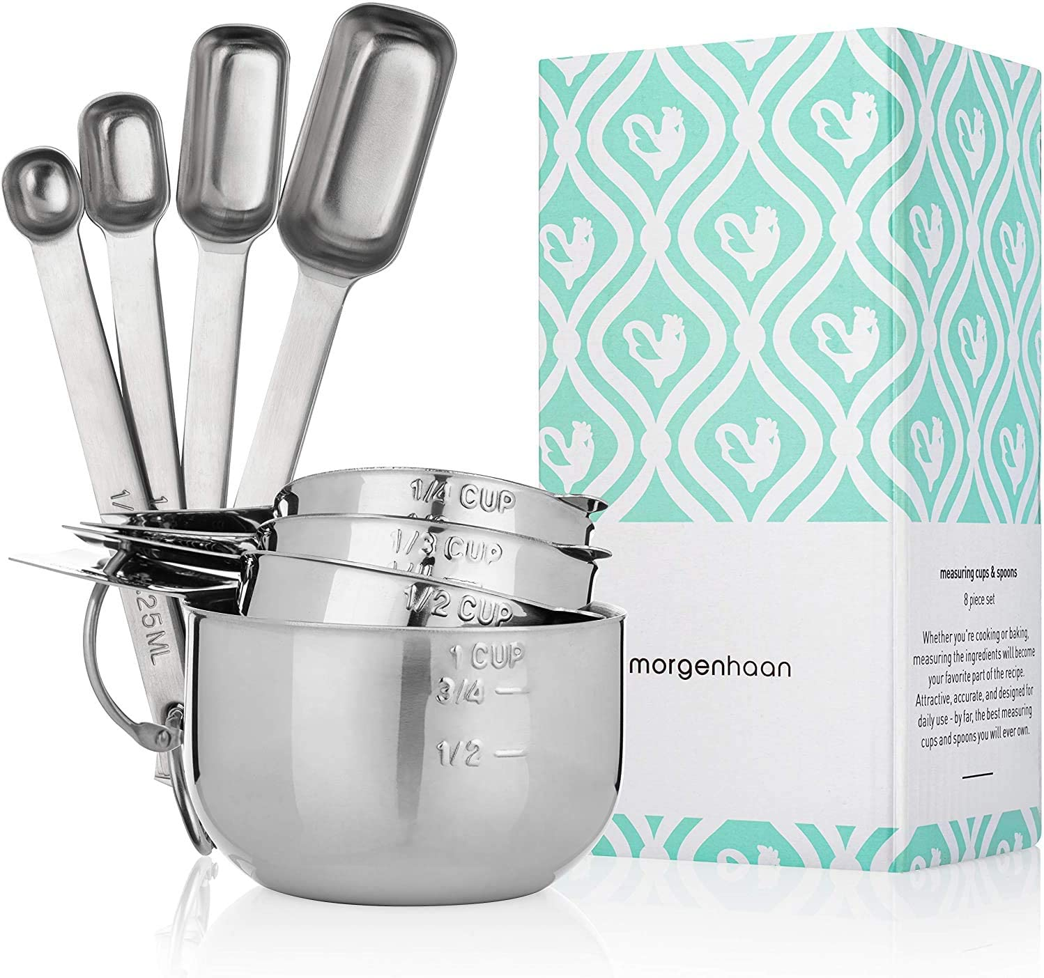 4 Spoons and 4 Cups Measuring Set of 8 Pieces Morgenhaan Stainless Steel Measuring Cups and Spoons