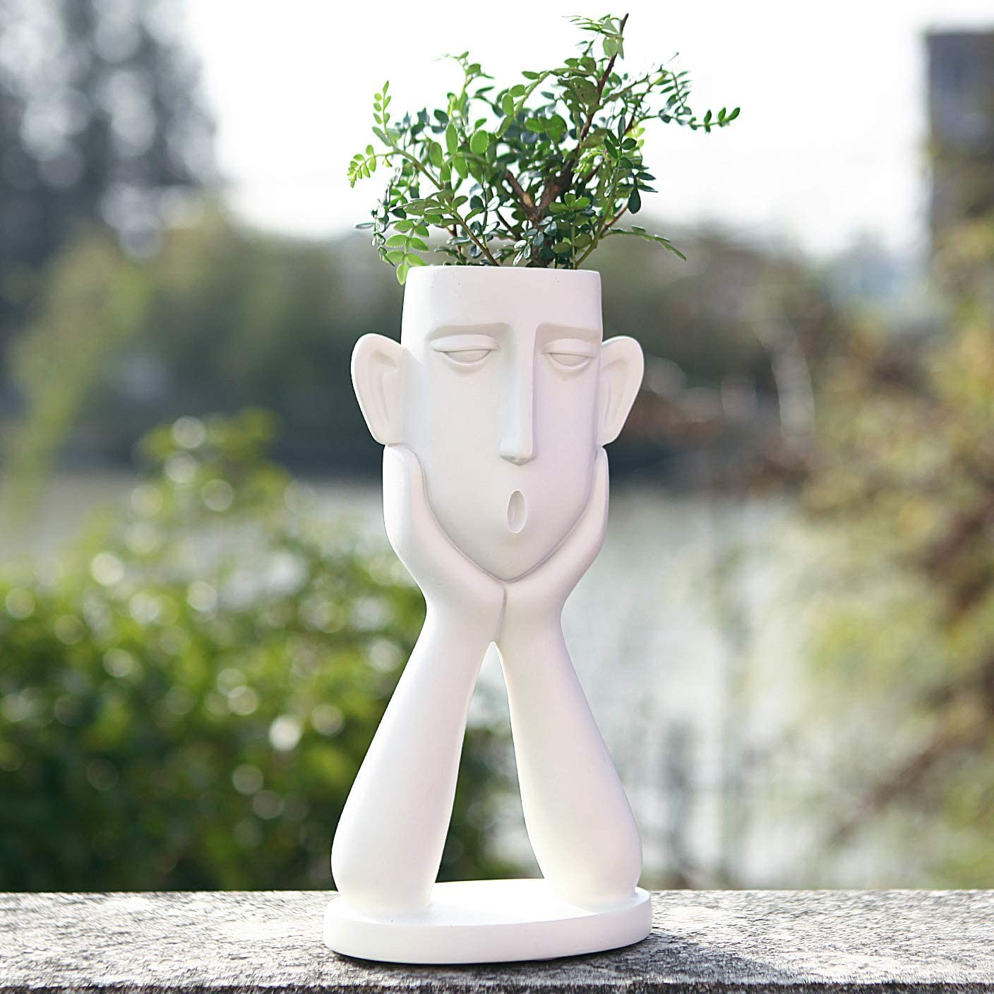 FROZZUR Human Face Shaped Flower Pot, Tall White Modern Head Planter, Irregular Garden Pot for Indoor and Outdoor Decorative Plants, Boy Planter Pots with Drainage Holes for Succulent Plants