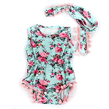 36ba5591ca99 Puseky Newborn Baby Girl Tassel Ball Floral Romper Jumpsuit Sunsuit Headband  Set (0-6