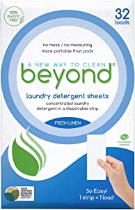 Beyond Concentrated Laundry Detergent Sheets (Laundry Detergent Strips) Fresh Linen Scent (Case of 12 Packs