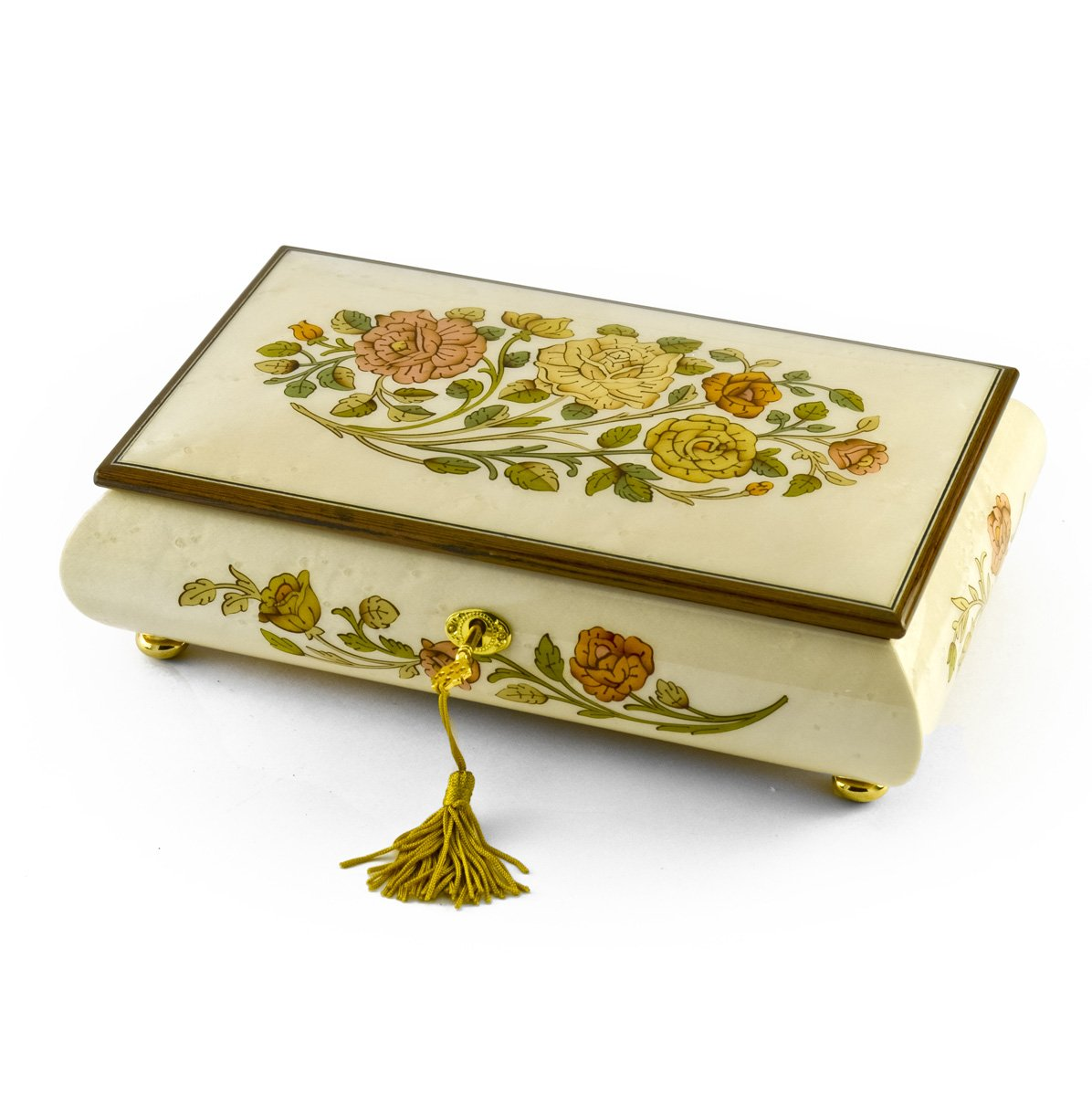 Handcrafted Bianco 18 Note Roses Inlay Musical Jewelry Box with Lock and Key - I Just Called to Say I Love You