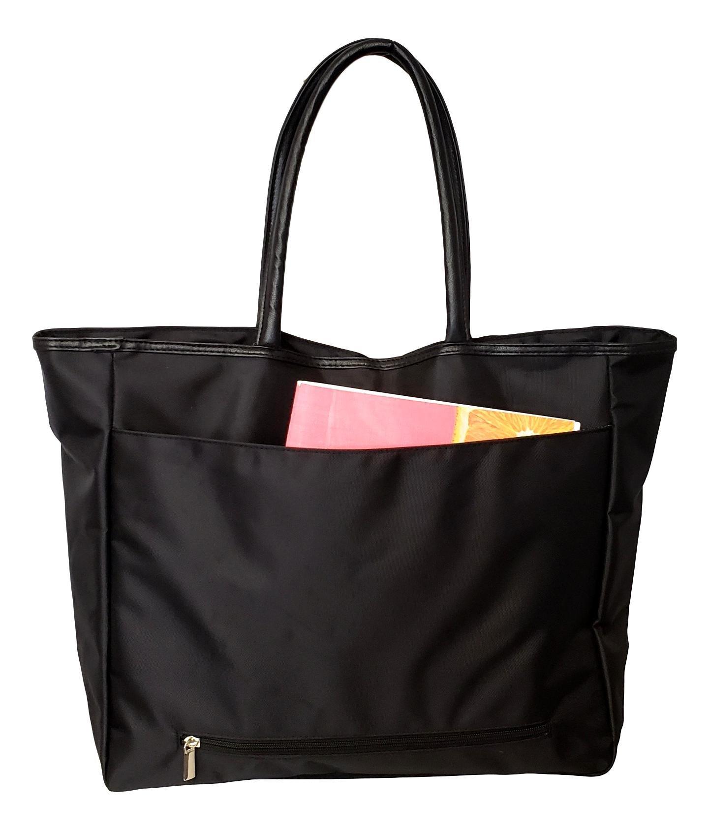 Large Black Organizing Travel Companion Purse Handbag Bag (No Embroidery - Black) by Sona G Designs (Image #3)