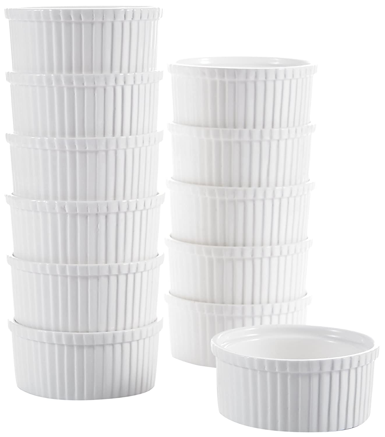 "Malacasa, Series Ramekin, 2.5"" (1.4oz) Ivory White Porcelain Serving Dishes Dipping Bowls, Set of 12 RAMEKIN.DISH-019"