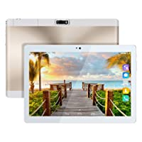 Kivors Tablet DE 10.1 Pulgadas HD (Quad Core Processor, 1GB RAM, 16GB ROM, Android 6.0, Dual Sim Card, Cámara Frontal y Trasera, 800*12800 IPS, WiFi, Bluetooth 4.0, OTG) (Gold)