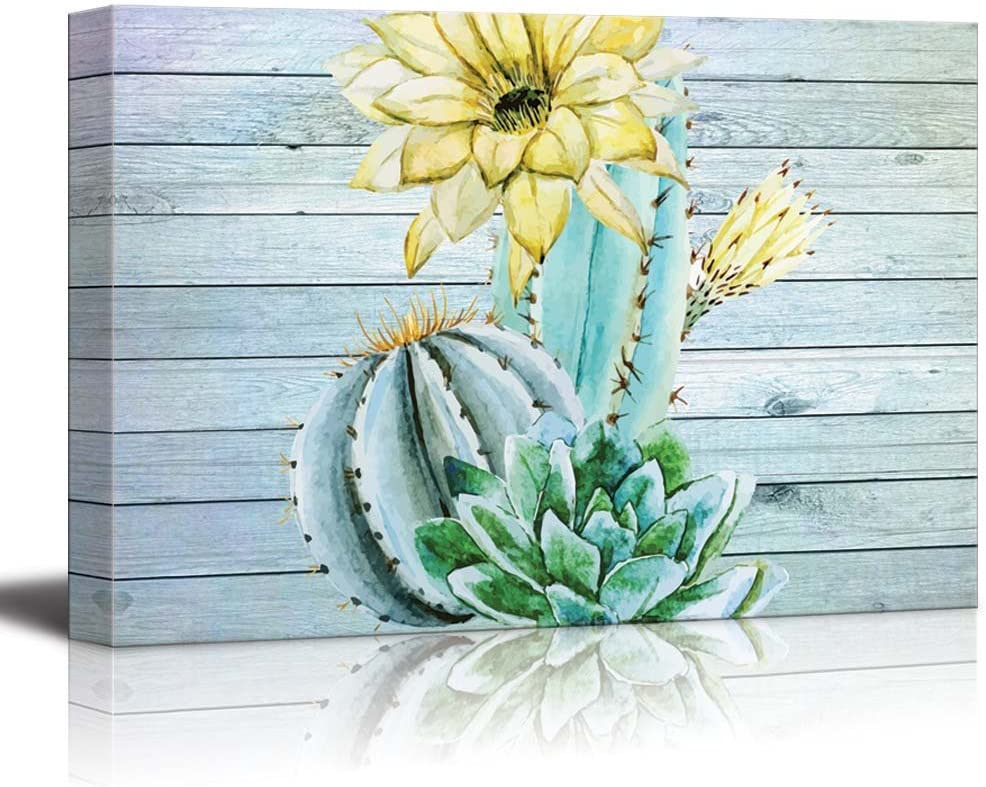 Watercolor Dandelions on a Field Over Teal Wooden Panels Canvas Art 32x48