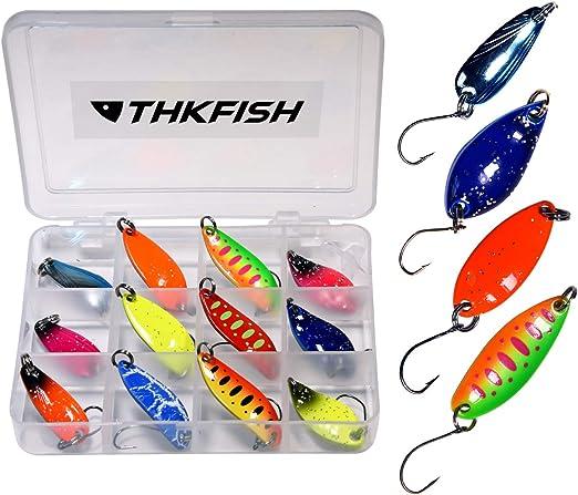 THKFISH 12Piezas/Caja Señuelos Pesca Cucharas Spinning Spoon Cebo Cucharillas Pesca Trucha Rockfishing Jigging Aparejos Pesca Kit: Amazon.es: Deportes y aire libre