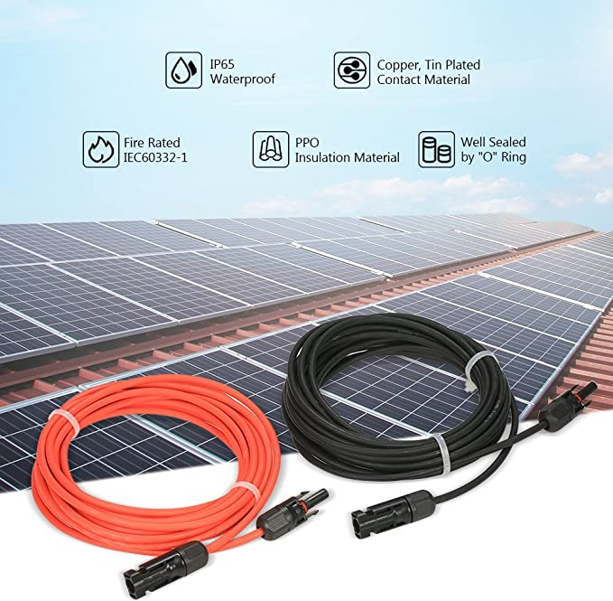 30 Feet Red 10AWG Solar Panel Extension Cable Wire with Female and Male Connector 1 Pair 30 Feet Black