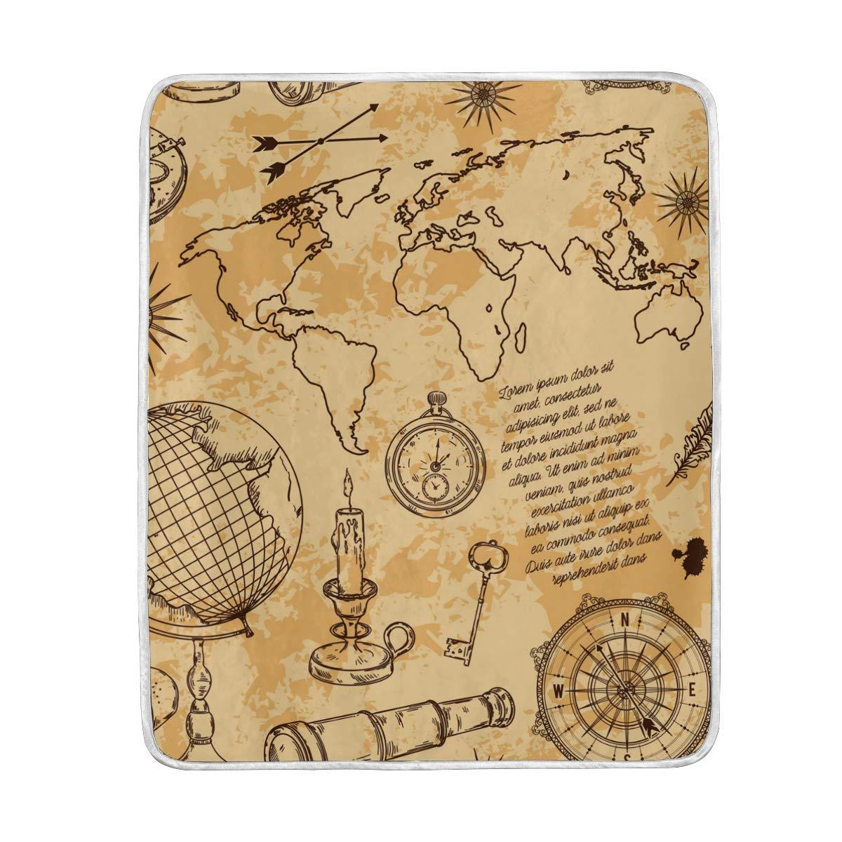 Amazon.com: Compass Map Telescope Soft Warm Throw Blankets ...