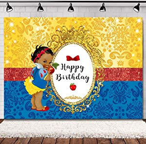 SVBright 7(W) x 5(H) ft Royal Princess Baby Shower Red and Royal Blue Birthday Snow Apple Bowknot White Girls Dessert Photo Booth Photography Backdrop Background for Photo Studio Vinyl