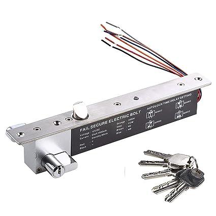 UHPPOTE Fail Secure Cerradura Eléctrica Perno Pestillo W / Cilindro Para Puerta de Madera Metal Cristal