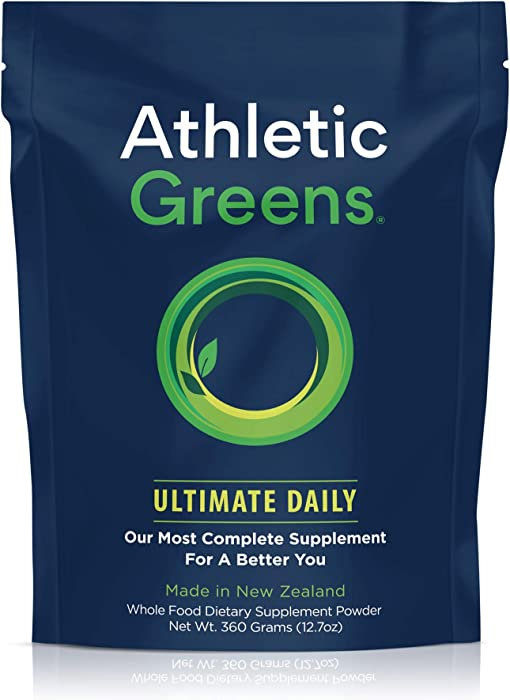 Athletic Greens Ultimate Daily, Whole Food Sourced All in One Greens Supplement Powder, NSF Certified, GlutenFree, Vegan and Keto Friendly, 30 Day Supply, 360 Grams (Athletic Greens Ultimate Daily)