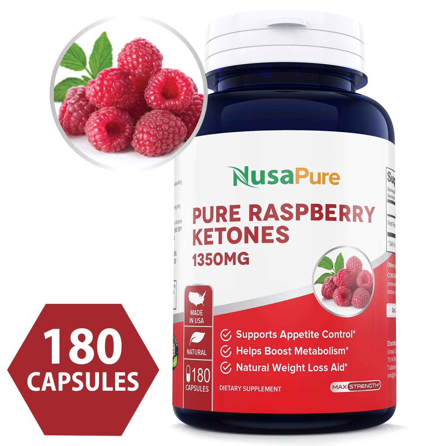 Raspberry Ketones 1350mg (Non-GMO & Gluten Free) All Natural Weight Loss Supplement, Max Strength Plus Appetite Suppressant Diet Pills - 450mg Per Capsule by NusaPure