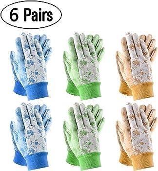 Seuroint 6-Pairs PVC Dots Cotton Work Non Slip Garden Gloves