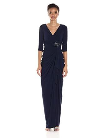 10c6a8548c7 Adrianna Papell Women's L/s Draped Matte Jersey Wrap Gown with  Embelishment, Midnight,