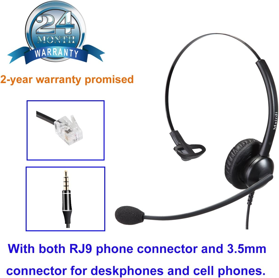 Cisco Headset RJ9 Phone Headset for Cisco IP Phone with Noise Cancelling Microphone Plus 3.5mm Connector