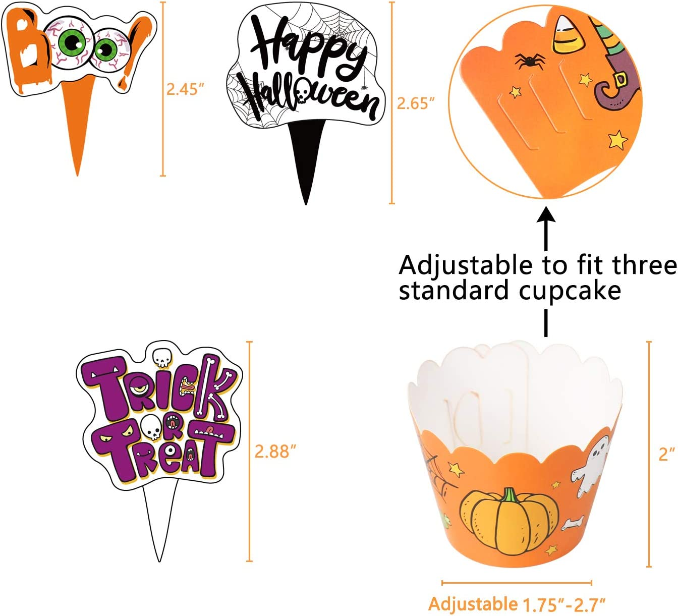 Halloween Cupcake Toppers Wrappers Trick or Treat Cake Party Supplies Decorations