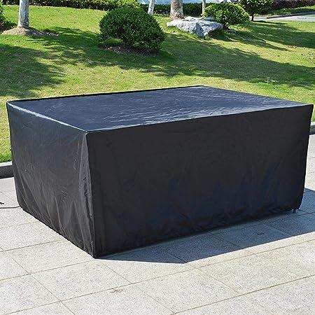 Furniture Covers Funda para Mesa y Silla Jardin, Cubierta de Muebles de Jardín Impermeable 210D Poliéster Resistente al Polvo Anti-UV Funda Protectora para Muebles de Jardín Black- 185x110cm: Amazon.es: Hogar