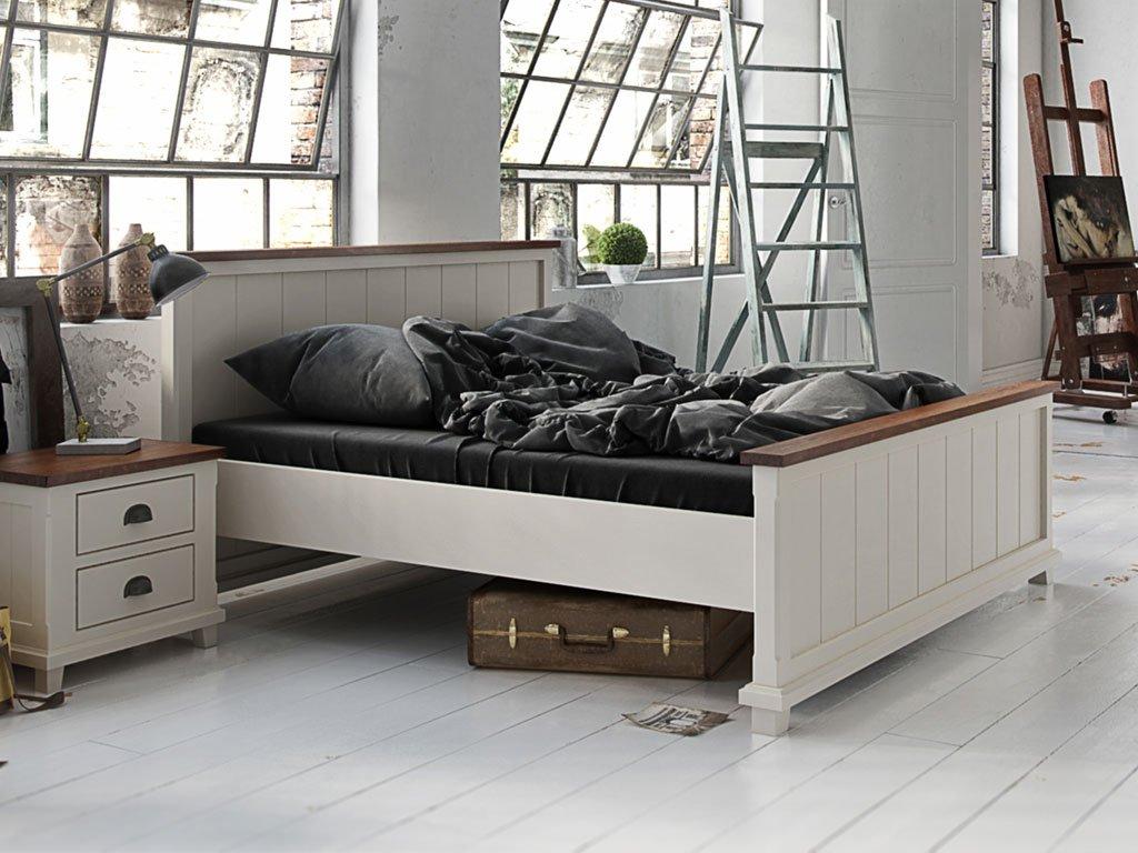 Doppelbett / Gästebett 06 massiv weiß / braun - Abmessung: 180 x 200 cm (B x L)