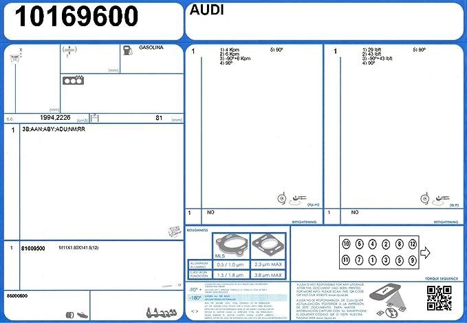 Zylinderkopf 52101100 für AUDI AJUSA Dichtungssatz