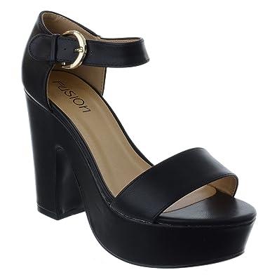 Womens High Heel Platform Sandals Ladies Block Ankle Straps Peep Toe Shoes Size