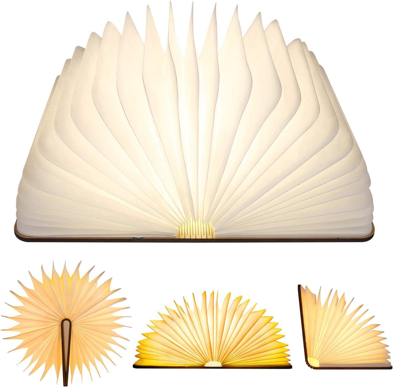 Libro Lámpara LED Luces Plegables de Madera, ALED LIGHT Luz de Libro USB Recargable Luz de Magnética Noche Creativa Luz de Noche y Lámpara de Libro de Mesa para Dormitorio, Regalo, Decoración
