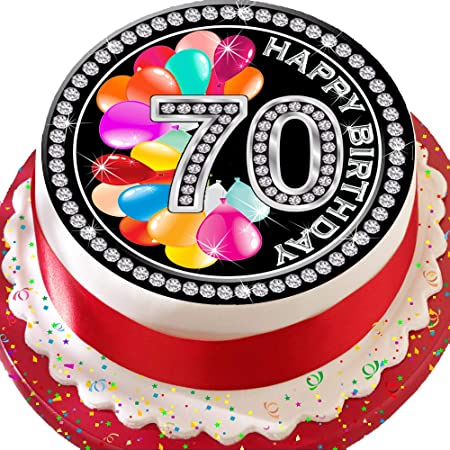 Enjoyable Precut Edible Icing Cake Topper 7 5 Inch Round 70Th Birthday Age Funny Birthday Cards Online Bapapcheapnameinfo