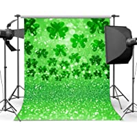 Gladbuy Happy St. Patrick's Day Backdrop 6X9FT Vinyl Lucky Irish Shamrock Backdrops Bokeh Glitter Sequins Green Four Leaf Clover Wallpaper Photography Background for Party Photo Studio Props EB245