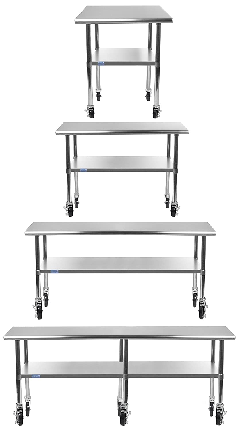 AmGood Stainless Steel Work Table - with Undershelf & Casters (Wheels) | Food Prep | Utility Work Station | NSF Certified | All Sizes