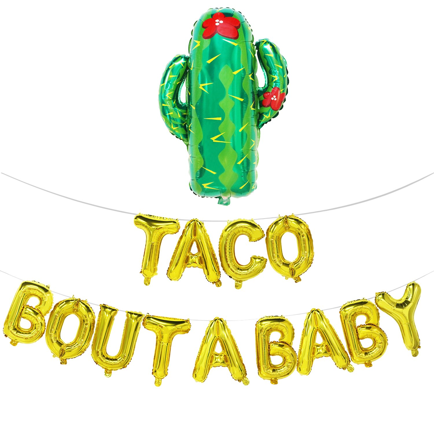 Taco Bout A Baby Balloons Letters with Cactus | Fiesta Theme Baby Shower Decorations | Baby Shower Banner | Pregnancy Announcement, Baby Announcement, Gender Reveal Party Supplies | Gold, 16inch by Mosoan