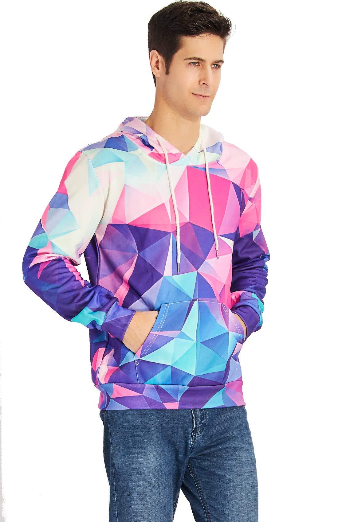 RAISEVERN Unisex Bunte Geometry Druck beiläufige Art und Weise T Shirt Kleidung