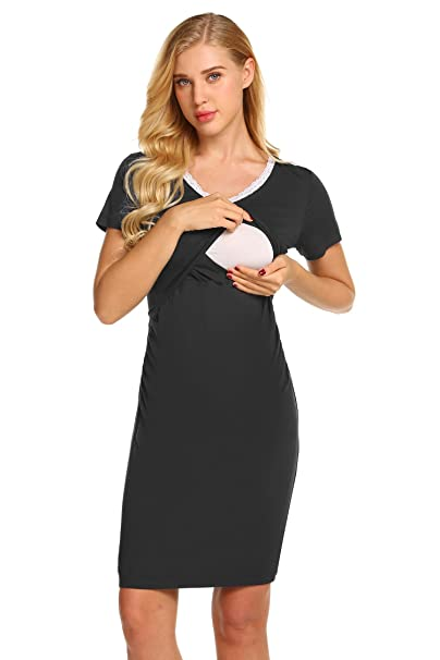 582db8e62dc22 Skylin Ladies Maternity/Nursing Breastfeeding Short Sleeve Nightgown Dress  (Black, Small)