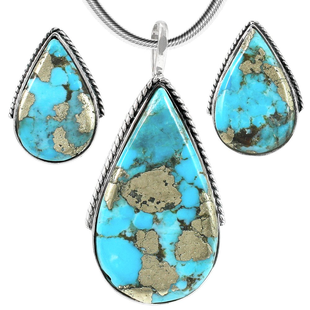 Turquoise Pendant & Earrings Set in 925 Sterling Silver with 20'' Chain (Pendant+Earrings+Chain) by Turquoise Network (Image #1)
