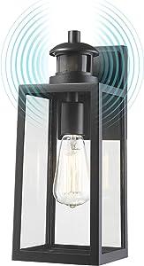 Dusk to Dawn Sensor Outdoor Wall Sconce, FEMILA Motion Sensor Exterior Wall Lantern Fixture, Wall Mount Lights Anti-Rust Waterproof Matte Black Wall Lamp with Clear Glass Shade, 4FW25B-SE BK