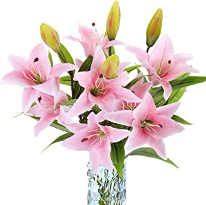 RERXN 4 Pcs Long Stem Artificial Tiger Lily Flowers Latex Flowers Home Wedding Party Decor (31 inch-Light Pink)