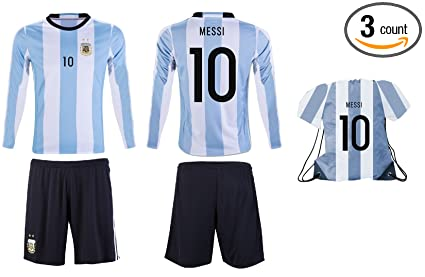 0491b1227eb JerzeHero 2018 Argentina Messi #10 Kids Youth Soccer Gift Set ✓ Soccer Shirt  ✓ Shorts ✓ Drawstring Bag ✓ Home or Away ✓ Short Sleeve or Long Sleeve