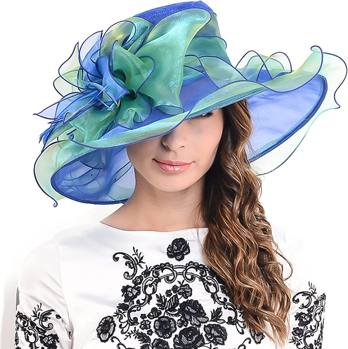 Ladies Kentucky Derby Church Hat Wide Brim Leaf Flower Bridal Dress Hat s037