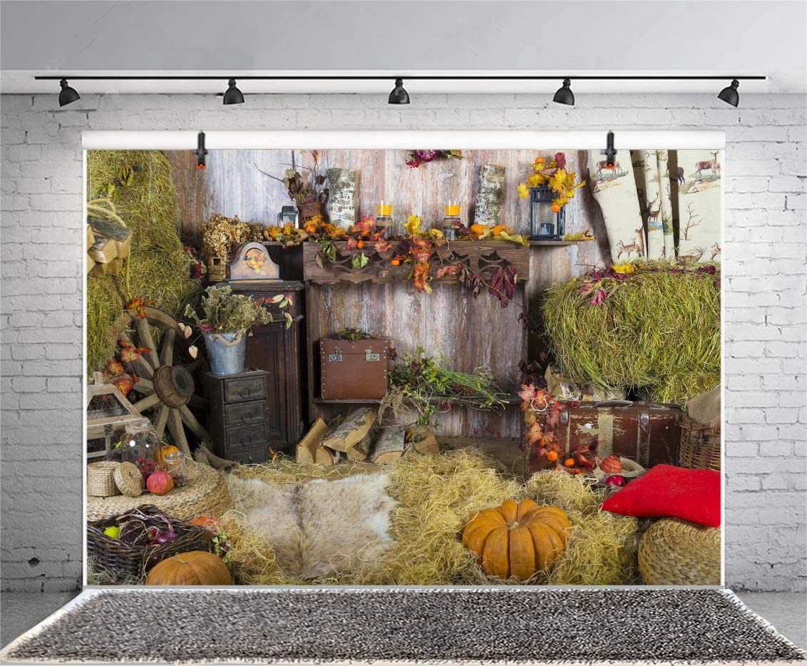AOFOTO 5x3ft Countryside Farm Harvest Background for Photography Barn Farmhouse Interior Celebration Table Wheel Straw Hay Autumn Pumpkins Backdrop Video Drape Wallpaper Photo Studio Prop