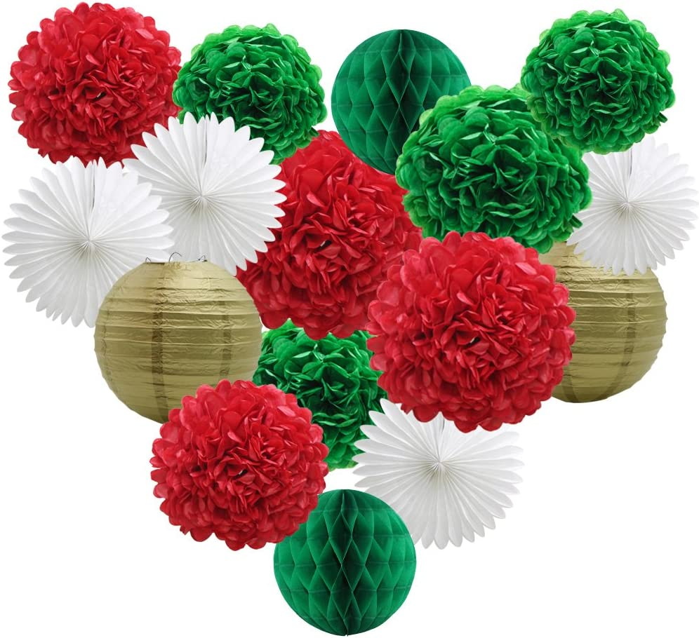 Party Decorations Kit, Green Red White Birthday Bridal Shower Decor Paper Pom Poms Flowers Honeycomb Balls Lanterns Paper Tissue Fans Photo Backdrop Wedding Christmas Bachelorette Supplies
