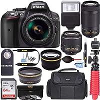 Nikon D5300 24.2 MP DSLR Camera + AF-P DX 18-55mm & 70-300mm NIKKOR Zoom Lens Kit + 64GB Memory + Photo Bag + Wide Angle Lens + 2X Telephoto Lens + Flash + Remote Bundle