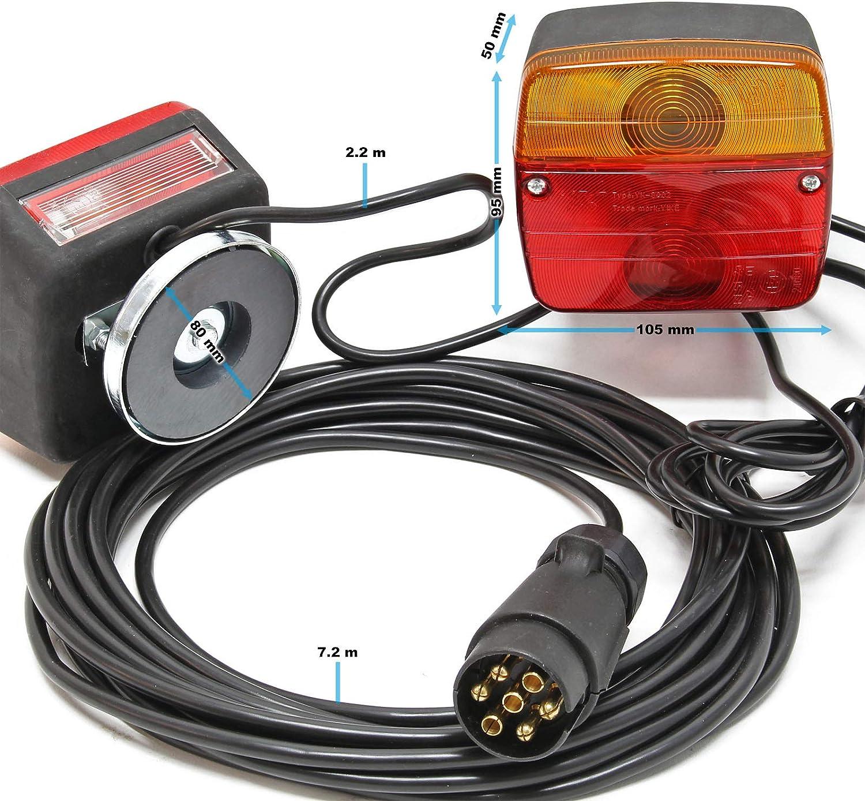 Rückleuchten Für Anhänger 7polig Mit 7 5m Kabel 2 Lichteinheiten Blinklicht Bremslicht Rücklicht Auto
