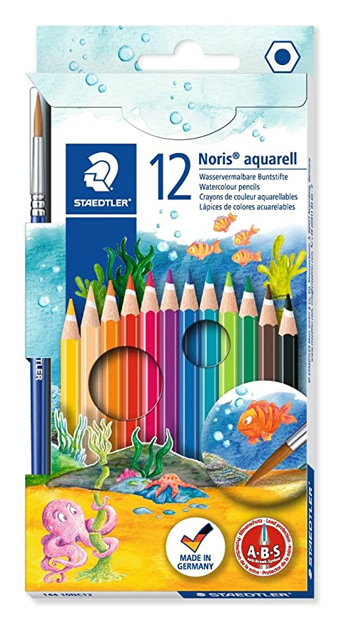 12 Pack WATERCOLOUR PENCILS Artist Colouring Painting Assorted Colours